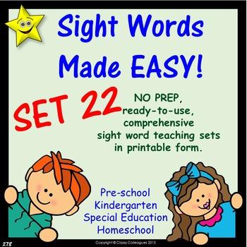 Sight Words, No-Prep Comprehensive Activities, Set 22