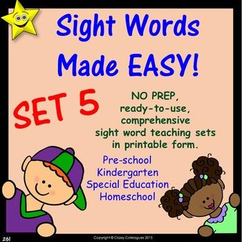 Sight Words, No-Prep Comprehensive Activities, Set 5