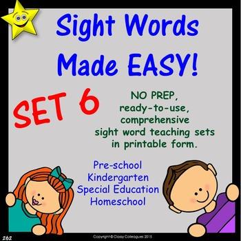 Sight Words, No-Prep Comprehensive Activities, Set 6