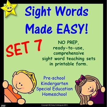 Sight Words, No-Prep Comprehensive Activities, Set 7