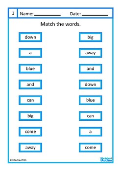 Sight Words Matching, Write and Wipe, Autism, Special Education, ESL