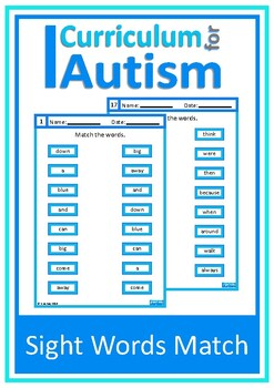 Sight Words Matching Autism Special Education ESL