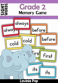 Sight Words Memory Game (Grade 2 Words)