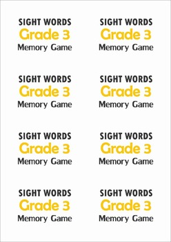 Sight Words Memory Game (Grade 3 Words)