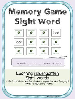 Sight Words Memory Game - Kindergarten - Lucy Calkins Phonics