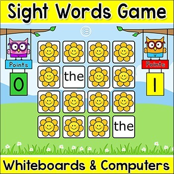 Sight Words Memory Game for Smartboards & Computers