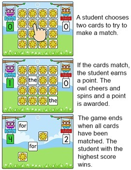 Sight Words Memory Digital Game for Smartboards & Computers - Word Work Game