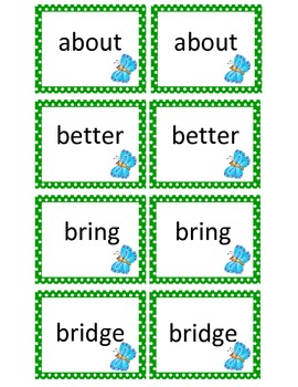 Sight Words Memory Match Card Game