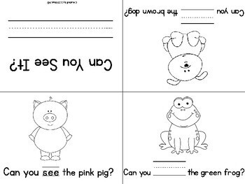 Sight Words-Kindergarten Mini Books-Just Print & Fold-No Staples or Cutting