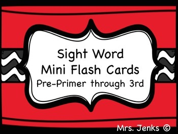 Sight Words Mini Flash Cards Freebie