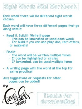Sight Words Mini Workbook Week One!