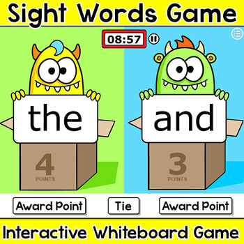 Sight Words Monsters Head-to-Head Team Challenge Game - Community Building Game