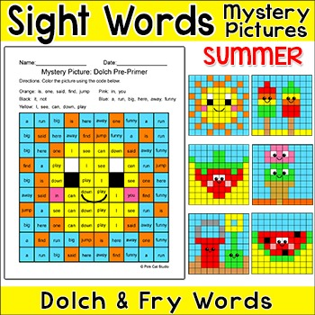 Sight Words Summer Mystery Pictures - popsicles, strawberry, watermelon
