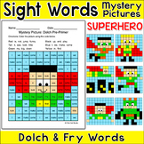 Superhero Color by Sight Words Mystery Pictures: Fast Finisher, ELA Morning Work