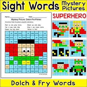 Sight Words Superhero Theme Mystery Pictures Differentiate