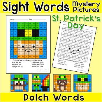 St. Patrick's Day Color by Sight Words Mystery Pictures: L