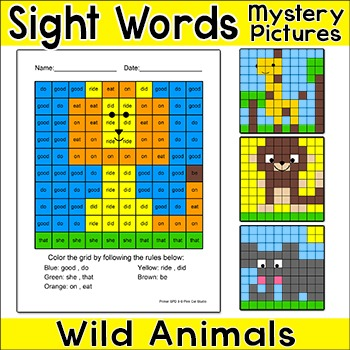 Wild Animals Sight Words Hidden Pictures: Lion, Giraffe, Monkey, Elephant