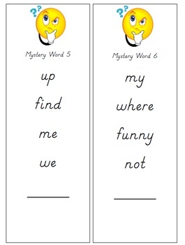 Sight Words Mystery Word