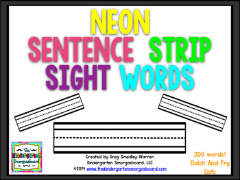 Sight Words:  Neon Sentence Strip Sight Words