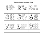 Number Sight Words - Cut & Paste Activity