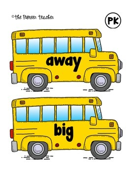 Sight Words On The Bus {PreK-Grade 2 Dolch}