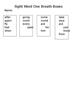 Sight Words One Breath Boxes - EDITABLE!