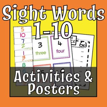 Sight Words: One through Ten.  Interactive Tab Tool, Posters, Worksheet Practice