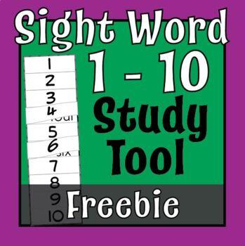 Sight Words: One through Ten, FREE Tab Tool