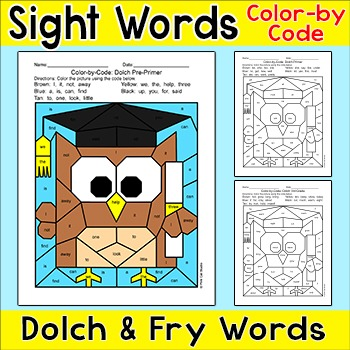 End of the Year Activities: Color by Sight Words - Owl Graduate