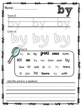 Sight Words Packet, Dolch First Grade Words {No Prep}