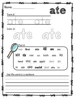 Sight Words Packet, Dolch Primer Words {No Prep}