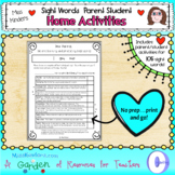 Parent Student Sight Words Home Activities