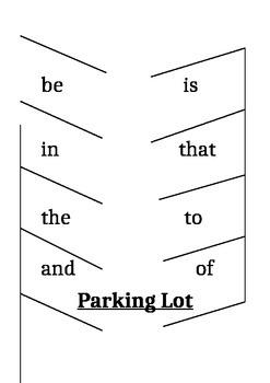 Sight Words Parking Lot Activity