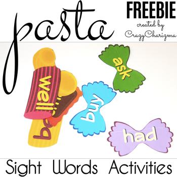 Free Sight Words - Pasta