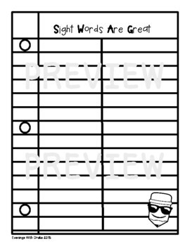 Sight Word Personal Dictionary (with Interactive Notebook Option)