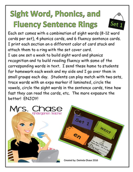 Sight Words, Phonics, and Sentence Flash Cards - SET 1
