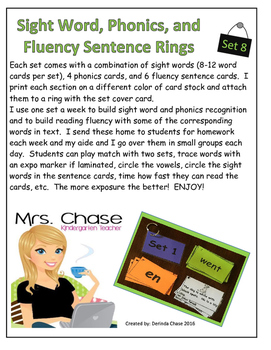 Sight Words, Phonics, and Sentence Flash Cards - SET 8