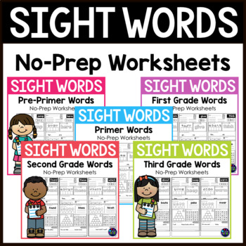 Sight Words Kindergarten, First Grade, and Second Grade Wo