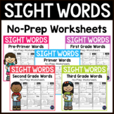 Sight Words Worksheets Kindergarten, First Grade, and Second Grade BUNDLE