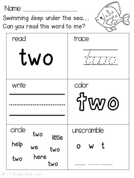 Sight Words Worksheets Practice