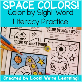 Sight Words Practice Activity: Space Color by Sight Word!