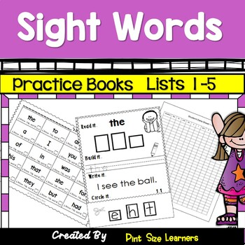 Sight Words Practice Books Lists 1 to 5