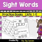 Sight Words Practice Books for Kindergarten Lists 1 to 5