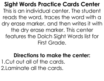 Sight Words Practice Cards Center: First Grade