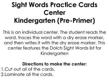 Sight Words Practice Cards Center: Pre-Primer