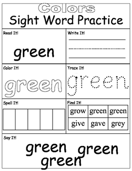 Sight Words Practice- Colors