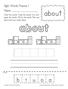 Sight Words Practice Materials - Dolch 3rd Grade
