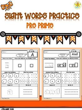 Sight Words Practice-Pre Prime