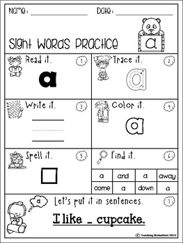 Sight Words Practice (Pre-Primer)