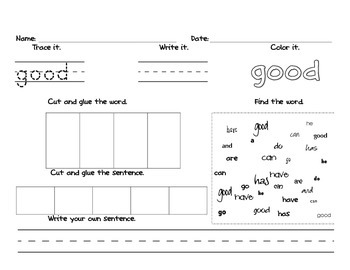 Sight Words Practice Red List 1 (Reading Wonders)